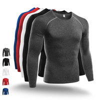 Wholesale long workout tops - Basketball Running Sport T Shirt Men Gym Clothes Quickly Dry Long Sleeves Tops Fitness Tight Jogging Compression Shirt Workout Wear XXL