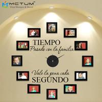 "Wholesale Wholesale Wall Clock Hands - Wholesale- DIY Modern Design Wall Clock Spanish With Clock and Hands "" tiempo con la familia "" Creatively Acrylic&Vinyl Material Home Decor"