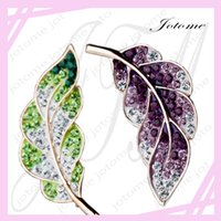 Wholesale Muslim Wholesalers China - 100PCS Lot 2017 TOP Design Leaf Multicolor Crystal Muslim Hijab Pins Brooches Hijab Pins Female Brooches