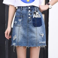 Wholesale Mouse Skirt - 2017 New Fashion Sexy Cowboy Girls Denim Skirts with Mickey Mouse Cartoon Ripped Hole for Spring and Summer