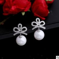 Wholesale Crown Gold Jewellery - Brass earring fashion S925 silver pin jewellery real rhodium gold plated AAA cubic zirconia flower crown shell pearl earring free shipping
