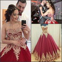 Wholesale Girls Robe 12 - Gorgeous Ball Gowns Quinceanera Dresses 2017 Sweetheart Robe De Soiree with Gold Appliques 15 Girls Prom Party Gowns Custom