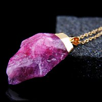 Wholesale Pink Pearl Sweaters - Original Natural Crystal Irregular Stone Pendant Necklace Mix Pink Amethyst Gold Sweater Chain Necklace For Women Gift