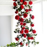 künstliche rosa rosengirlande großhandel-1.8M gefälschte künstliche rote Rose-hängendes Girlanden-Haus für Hochzeits-Ausgang Rosa weiße dekorative Blumen 10 Teile / los Freies Verschiffen