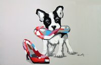 Wholesale handpainted shoes - Framed Boston Terrier Puppy Dog And Shoe,Genuine Hand Painted Cartoon Animal Art oil Painting On Canvas,Museum Quality Multi sizes J057!