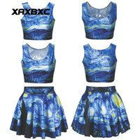 Wholesale Two Piece Night Sexy Girl - New 021 Summer Sexy Girl Cheering Squad Sport Suit Starry Night Van Gogh Prints Vest Tank Cropped Tops & Pleated Mini Skirt Women Set