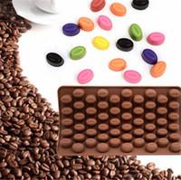 Wholesale Bean Chocolate Diy - Wholesale- 55 Holes Coffee Bean Chocolate Mold Silicone 3D Coffee Beans Non-Stick Cake Fondant DIY Jelly Ice Baking Mould