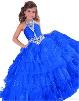 Wholesale Turquoise Ritzee Girls - Turquoise Ritzee Crystals 2017 Little Girl's Pageant Dresses Red Beaded Flower Girls Birthday Princess Dresses Ruffles Toddle Long