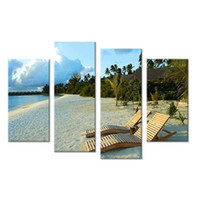 Wholesale beach art decor for sale - 4 Panels A Popular Recreational Beach Wall Painting Print On Canvas For Home Decor Paints On Wall Pictures Art No Framed Art