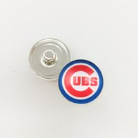 Wholesale Sports Team Jewelry - 18MM Baseball Team Sports Metal Button Snap Chicago Cubs Snap Jewelry Fit For Button Snap Charm DIY Bracelet