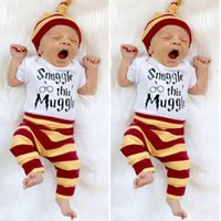 Wholesale Bodysuit New Baby - Hot INS Baby clothes Short Sleeve Bodysuit romper+Pants+hat letters Infant Outfit 3pcs Set lovely gift for kids baby 2017 New arrival