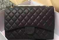 Wholesale Pu Leather Xxl Women - Luxury Classial XXL Maxi Plaid Chain Bag Caviar Leather Jumbo Double Flaps Bag Women Shoulder Bag 58601 Handbag