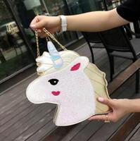 Wholesale small silver handbag resale online - 5 Colors Personality New Fashion Unicorn Messenger Bag Purse Laser Shoulder Bag Handbag Ladies Unicorn Crossbody Bag CCA7232