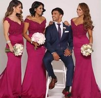 Wholesale charm wedding dresses resale online - Charming New Fuchsia Mermaid Bridesmaid Dresses Off Shoulder Lace Applique Floor Length Wedding Guest Party Maid Of Honor Gowns Cheap