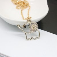 Wholesale Rhinestone Elephant Pendant Necklace - 2017 New Fashion Necklace Cute Elephant Key Crown Necklaces & Pendants Leather Chain Alloy Chian For Women Necklace Gift