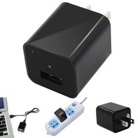 Wholesale Mini Hidden Camera Plugs - 8GB Mini AC Adapter US Plug USB Pen Charger Hidden Spy Video Camera Loop Record