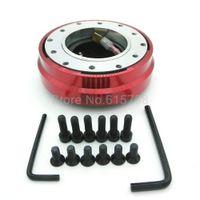 Wholesale Honda Auto Racing - Racing car red Aluminum Steering Wheel Car Auto 6 Hole Quick Release Hub Adapter