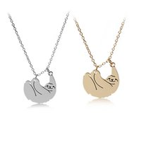 Wholesale Cute Gold Pendant - New Silver Gold Animal Sloth Pendants Necklace Chains Women Girls Cute Fashion Jewelry Gift Drop shipping