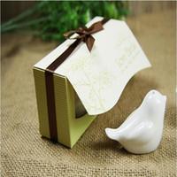 Wholesale halloween ceramic houses resale online - Promotion DHL quot Love Birds In The Window quot Ceramic Salt Pepper Shakers Wedding Favor boxes