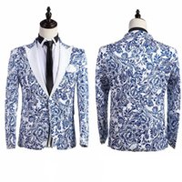 Wholesale Chinese Men Blazer - Brand New 2016 Chinese Style Blue And White Pattern Singer Performance Prom Costumes Slim Suit For Men