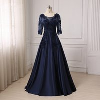 Wholesale Green Ladies Sequin Dresses - Evening Gowns For Fat Women 2017 Half Sleeves Long Dark Navy Plus Size Satin Appliques Lace Special Occasions Dress For Ladies