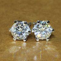 Wholesale Moissanite Diamond Earrings - Queen Brilliance Solid 18K 750 White Gold 1 Carat G-H VVS2 Push Back Stud Earrings Test Positive Moissanite Diamond For Women ccp