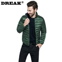 Wholesale Men S Down Winter Coats - Wholesale- 2016 new solid color collar men on both sides wear a down jacket thicken winter coat mens quilted jacket lightweight jacket