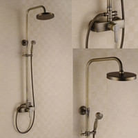 Wholesale Handles Shower Mixer - Antique Brass Shower Faucet Hot And Cold Dual Handles Mixer Tap with 8 inch Shower Head + Hand Shower