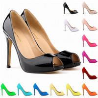 Wholesale White Fish Head High Heels - Summer New Sexy and Elegant Fashion Shoes Fish Head Higher Heel Waterproof Women Sandal Patent Leather Shoes US Size 4-11 D0026