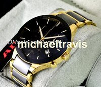 Wholesale Yellow Sapphire Bracelet - High quality chronograph watch top brand ceramic quartz stopwatch for men watches luxury wristwatch yellow gold and black bracelet with date