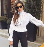 Wholesale White High Collar Blouse - Modest Office Lady Flare Sleeve Ruffles T-Shirt High Collar Long Sleeve The Fitted waist Lady Shirt Chic Solid Elastic Femme Blouse Tees