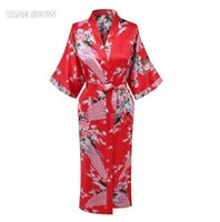 Wholesale pink nightgown sale online - Hot Sale Red Chinese Women Rayon Robe Dress Bridemaid Sexy Wedding Nightgown Kimono Bathrobe Gown Size S M L XL XXL XXXL NR189