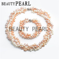 Wholesale White Pink Light Purple Freshwater Pearls Twisted Multicolor Necklace with Bracelet Women Bridal Wedding Jewelry Set