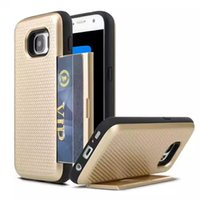 Wholesale Dual Slide Phone - Dual Layer Armor coque Phone Case with Slide Card fundas Cover Case Back for Iphone 5s 6 6s plus 7 7plus Samsung S6 S6 Edge S7 S8 S8 plus