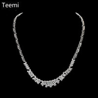 Wholesale Simple Gold Necklace For Wedding - LUOTEEMI Brand New Simple Elegant White Gold-Color Rhinestone CZ Crystal Choker Necklace Earrings Set for Women Bridesmaids Wedding Jewelry
