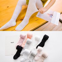 Wholesale Socks Crotch - Childrens pantyhose Sping Summer New Toddler Popular Pants Thin Cotton Children Candy color Leggings Breathable Mesh Baby Open crotch Socks