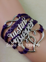 Wholesale Infinity Justin Bieber - New Design Antique Silver Heart Justin Bieber Infinity Charm Bracelets Bangles 2016 Multicolor Leather Rope Cuff Lovers Jewelry