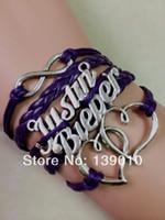 ingrosso bracciali di justin bieber-Nuovo design Argento antico cuore Justin Bieber Infinity Charm Bracciali Bangles 2016 Multicolor Leather Rope Cuff Lovers Jewelry