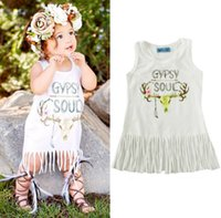 Wholesale Deer Print Dress - 2017 summer tassels vest girls dress Cartoon deer head printing GYPSY SOUL letter baby skirt L69