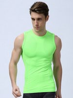 Wholesale Excercise Shirt - Wholesale- men compression tight base layer skin gilet Fitness Excercise workout vest sleeveless shirts underwear