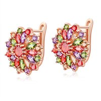 Wholesale Dangle Diamond Cross Earrings - Charming Floral Flower Cross Design Cubic Zirconia Sparkling Earrings Brass Setting Diamond Wedding Earrings For Women