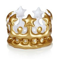 Wholesale King Crowns Wholesale - Wholesale-Novelty Inflatable Crown King Imperial Hats Kids Adults Headwear Accessories Birthday Party Decorations