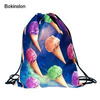 Wholesale Ice Lock - New 2017 Fashion Backpack 3d Print Ice Cream Pattern Softback Man Women Harajuku Drawstring Bag Unisex Backpacks Travel