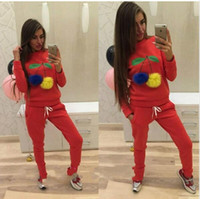 Wholesale Large Size Tracksuits - Womens Fashion Cherry Autumn Winter Sportwear Suit Red Gray Black Color Hoodies Tracksuit for Women Large Size