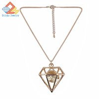 Wholesale Triangle Shape Zircon - Hollow Out Triangle Shape Trendy Pendant Necklace Rose Gold Color Plate AAA Zircon Charm Necklace Women Accessories Jewelry