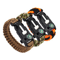 Wholesale Emergency Compass - 20x 5 in 1 Emergency Survival Bracelet Compass Paracord Bracelets For Men Outdoor Camping Wristband Flint Fire Wrap Bracelet