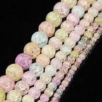 cuentas de cuarzo al por mayor-Cuentas de cristal frizzling de color natural agrietado cuarzo cristal redondo del grano del espaciador perlas sueltas para bricolaje pulsera collar fabricación de joyas