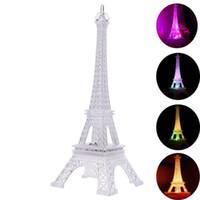 Wholesale Decoration Paris - Wholesale- Colorful Eiffel Tower Nightlight Paris Style Decoration LED Lamp Fashion Desk Bedroom Acrylic Light