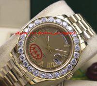 Wholesale Amazing Ceramics - Luxury Wristwatch Amazing Gold Dial Mens 2 II 18k 41MM Yellow Gold Bigger Diamond Ceramic Bezel Automatic Mechanical Men Watches