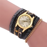 Montre Bracelet Multicouches Pas Cher-Vente en gros Femmes Vêtements décontractés Vintage Multilayer Wristwatch Weave Wrap Rivet Bracelet en cuir Montre bracelet Quartz Watch DHL Livraison gratuite